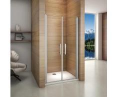 Porte de douche pivotante 95x185cm porte de douche installation en niche verre anticalcaire ouverte