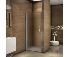 Porte de douche pivotante 76x187cm en verre sablé et anticalcaire installation en niche