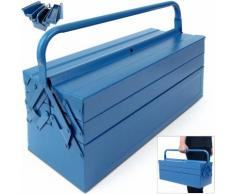 Boîte coffre à outils rangement pratique en acier - bleu - 580x220x210mm