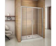 Porte de douche coulissante 140x185cm porte de douche installation en niche verre de securit