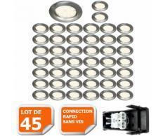 LOT DE 45 SPOT LED RONDE FIXE ALU BROSSE eq. 50W BLANC CHAUD