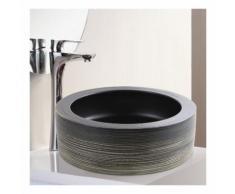 Vasque à Poser Ronde - Céramique rainurée Gris et Blanc - 40 cm - Epura