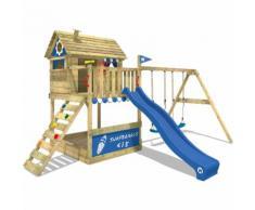 WICKEY Portique de jeux en bois Smart Seaside Aire de jeux avec toboggan bleu, balançoire et