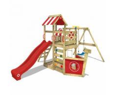 WICKEY Aire de jeux SeaFlyer Portique de jeux en bois Maison pour jardin avec balançoire et