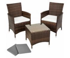 Salon de jardin ATHENES - 2 Chaises Fauteuils et 1 Table en Résine Tressée structure Aluminium