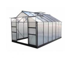 Serre de jardin 9,13m² anthracite en polycarbonate + embase Green Protect