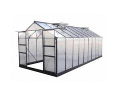 Serre de jardin 16,9m² anthracite en polycarbonate 4mm + embase Green Protect