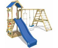 WICKEY Aire de jeux StarFlyer Portique de jeux en bois Tour d'escalade, toboggan bleu + bâche bleu