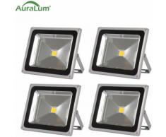 4×50W Projecteur LED IP65 Spot LED Éclairage Extérieur et Intérieur 4200-5000LM Blanc Chaud