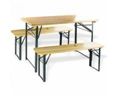 Table et bancs de brasserie - Ensemble de jardin 3 pièces 120 x 60 cm
