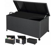 Coffre boîte de rangement en polyrotin Malle stockage jardin terrasse - Noir
