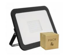 PACK Projecteur LED Extra-Plat Crystal 100W Noir (4x39.65) Blanc Froid 6000K