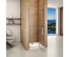 Porte de douche 80x190CM installation en niche verre anticalcaire avec le receveur 80x120x3 cm