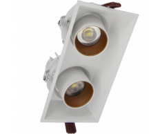 Downlight Spot LED COB Orientable Dimmable Rectangle BLANC/DORE 2x9W 120 - couleur eclairage : Blanc Froid 6000K - 8000K