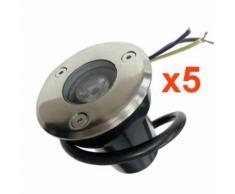 Spot Extérieur Encastrable LED IP65 220V Sol 3W 45 (Pack de 5) - couleur eclairage : Blanc Froid 6000K - 8000K