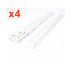 Réglette Lumineuse LED 120cm 36W (Pack de 4) - couleur eclairage : Blanc Chaud 2300K - 3500K