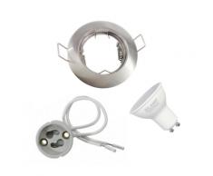 Kit Spot LED GU10 encastrable avec Ampoule LED 8W - couleur eclairage : Blanc Neutre 4000K - 5500K