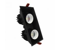Downlight LED Dimmable Double Spot Orientable 18W NOIR/BLANC - couleur eclairage : Blanc Chaud 2300K - 3500K
