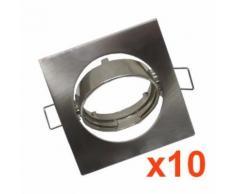 Support Spot LED GU10 Orientable Carré INOX (Pack de 10)
