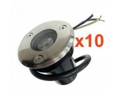 Spot Extérieur Encastrable LED IP65 220V Sol 3W 45 (Pack de 10) - couleur eclairage : Blanc Chaud 2300K - 3500K
