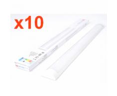 Réglette Lumineuse LED 120cm 36W (Pack de 10) - couleur eclairage : Blanc Chaud 2300K - 3500K