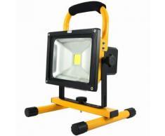Projecteur LED Rechargeable 20W Portable IP65 JAUNE - couleur eclairage : Blanc Froid 6000K - 8000K