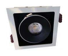 Downlight Spot LED COB Orientable Dimmable Carré Noir 9W 120 - couleur eclairage : Blanc Chaud 2300K - 3500K