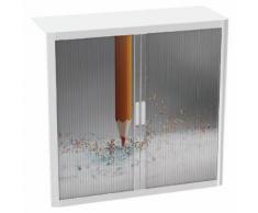 armoire easy office h.104cm corps blanc rideaux crayon papier,
