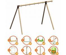 Portique bois évolutif TRIGANO 2,50 m. 5 enfants - 9 agrès inclus