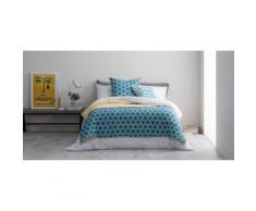 Agadir, couvre-lit, bleu canard et jaune safran