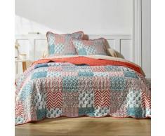 Couvre-lit imprimé patchwork - terracotta