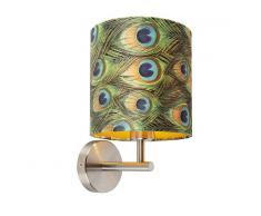 QAZQA Applique murale design en acier avec abat-jour velours paon et or 20/20/20