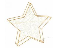 Statuette lumineuse étoile en métal doré H20