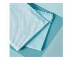 Lot de 2 torchons : 1 tissé teint et 1 chambray couleur AZUR Monoprix Maison