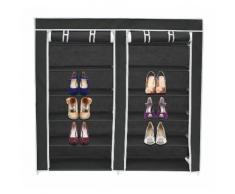 Penderie, Armoire, 2 portes, placard à chaussures, 114 x 110 x 28 cm, Noir, Matériau: Tubes en