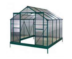 Serre de jardin 7,1m² verte polycarbonate 4mm + embase Green Protect