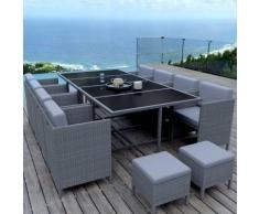 MUNGA 12 Places - Ensemble encastrable salon / table de jardin résine tressée-Gris/Gris Clair