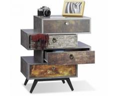 Relaxdays Commode vintage avec 4 tiroirs décalés étagère meuble rangement lowboard HxlxP: 68 x 60 x