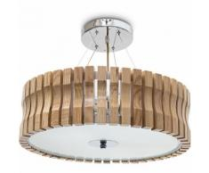Relaxdays Lampe de plafond Plafonnier à suspendre Éclairage lumière chambre en bois/ verre 5