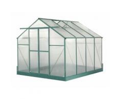 Serre jardin aluminium - avec base et 2 fenêtres / 7,44 m2