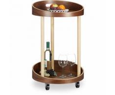 Relaxdays Desserte de cuisine en bois chariot de service mobile table d'appoint 2 plateaux HxlxP: