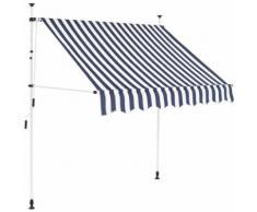 Auvent rétractable manuel 200 cm Rayures bleues et blanches