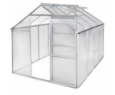 Serre de Jardin, Serre de Jardinage, Abri de Jardin 7,70m³ Aluminium avec 2 Fenêtres de Toit 250 cm