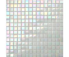 Carrelage mosaïque en verre. Carreaux de mosaïque de piscine. perle blanc irisé chatoyante. 33 cm x