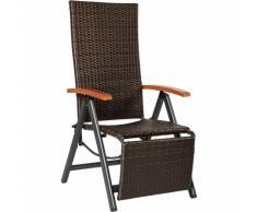 Fauteuil Chaise Longue de Relaxation Réglable Pliant avec 1 Repose Pieds en Résine Tressée 69 cm x