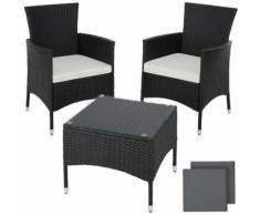 Salon de jardin LUCERNE - 2 Chaises Fauteuils et 1 Table en Résine Tressée Noir