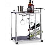 Relaxdays Desserte de cuisine verre BARON design noir étage pour 6 bouteilles de vin métal chariot