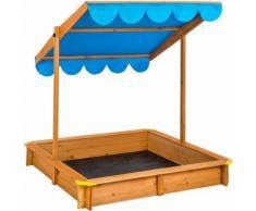 Bac à Sable Cabane de Jardin Enfant en Bois avec 1 Toit et 1 Bâche 120 cm x 120 cm x 120 cm Bleu