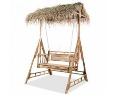 Balançoire à 2 places avec feuilles de palmier Bambou 202 cm