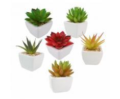 6 PCS Bonsaï artificielles plantes succulentes décoratives avec pots Mini fausses Vert bureau table